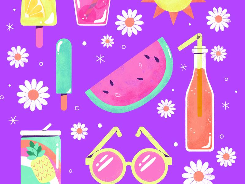 Summer Treats summer pattern floral icons digital illustration digital design cute robin sheldon illustration