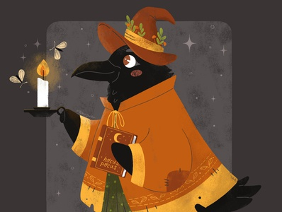 Witchy Birdie autumn fall spooky halloween witch raven crow digital illustration design illustration