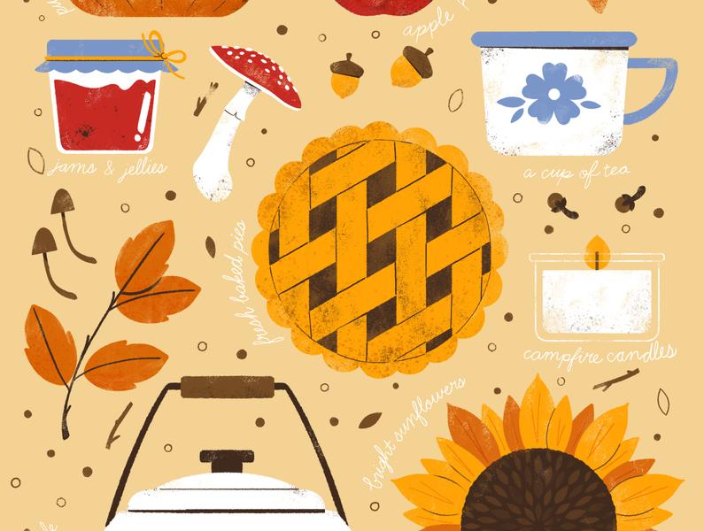 Smells Like Autumn autumn leaves fall favorites autumn coffee fall design digital robin sheldon illustration