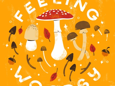 Feeling Woodsy autumn leaves mushroom autumn fall digital illustration digital design cute robin sheldon illustration