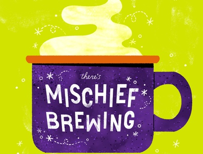 There's Mischief Brewing coffee cup witches brew witch coffee fall autumn spooky halloween digital illustration digital design cute robin sheldon illustration