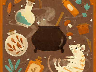 Stripes, Peachtober 2020 halloween witches brew witch potion rat character autumn fall digital illustration digital cute design robin sheldon illustration