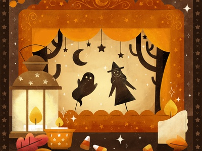 Shadow, Peachtober 2020 theater shadow puppet puppet shadow halloween spooky cute fall autumn digital illustration digital design robin sheldon illustration