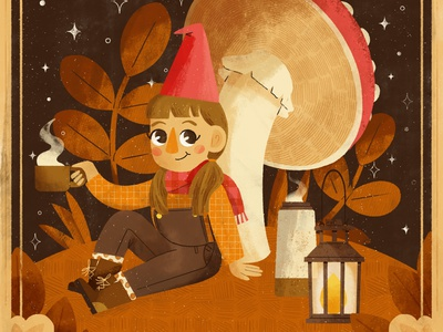 Hat, Peachtober 2020 character design scene gnome character cute design autumn fall digital digital illustration robin sheldon illustration