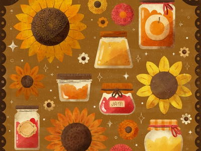Bloom, Peachtober 2020 items drawing fall food jelly jam food floral autumn fall digital illustration digital cute design robin sheldon illustration