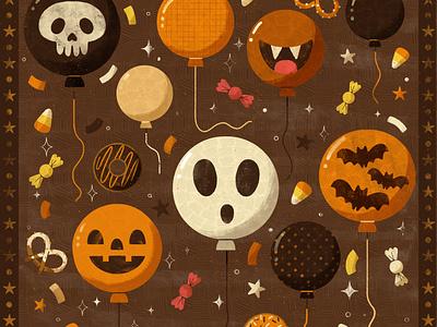 Balloon, Peachtober 2020 items halloween party party spooky halloween autumn fall digital illustration digital design robin sheldon illustration