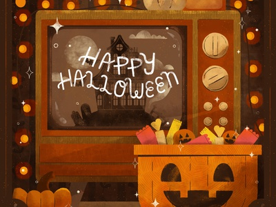 Moon, Peachtober 2020 scene pumpkin candle haunted house bats happy halloween spooky halloween autumn fall digital digital illustration cute design robin sheldon illustration