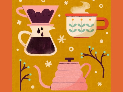 Coffee food items icon coffee digital illustration cute digital design robin sheldon illustration