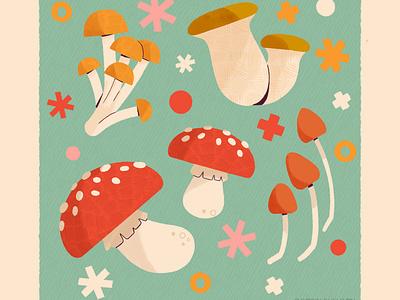 Mushroom icon cottagecore fairy mushrooms mushroom autumn fall digital illustration digital cute design robin sheldon illustration