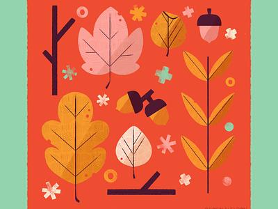 Leaves nature icon autumn fall digital illustration digital design robin sheldon illustration