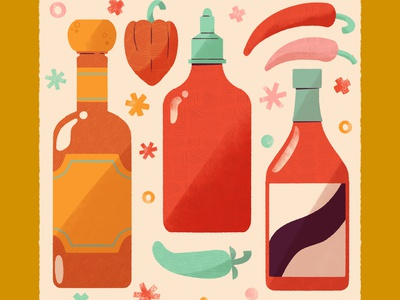 Spice ✨🌶️ icons doodle a day chili pepper peppers chili hot sauce food item icon digital illustration digital cute design robin sheldon illustration