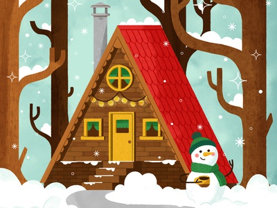 Cozy Cabin in Winter Forest house cabin merry christmas christmas snowman winter snow character cute digital illustration digital design robin sheldon illustration