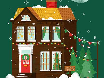 Holiday Town House holiday digital happy holidays christmas tree christmas home home house christmas in the city merry christmas christmas digital illustration design robin sheldon illustration