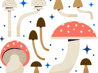 Spawn New Ideas graphic mushroom autumn fall digital digital illustration cute design robin sheldon illustration