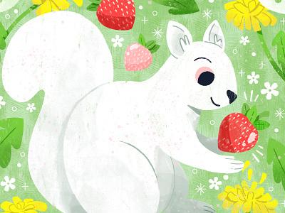 ✨🍓Strawberry Snatcher ✨🍓 character animal squirrel digital illustration cute design robin sheldon illustration