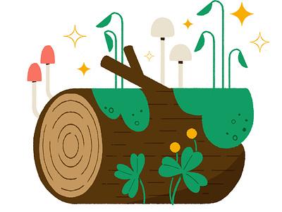 ✨🌱Let's Grow! 🌱✨ drawing art mushroom moss nature log digital cute digital illustration design robin sheldon illustration
