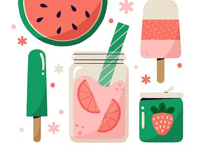 ✨🍉Cool Off! 🍉✨ summer2021 soda popsicle treats summer icon digital cute digital illustration design robin sheldon illustration