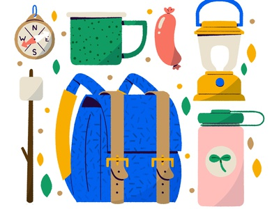 🌲Go Explore 🍃 adventure explore camp camping icon digital digital illustration cute design robin sheldon illustration