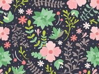 Succulent Floral Pattern
