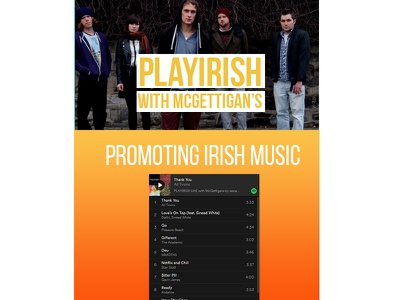 Playirish with McGettigan's WIP music graphic design web design