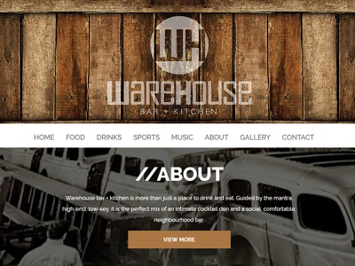 Warehouse Bar + Kitchen Website graphic ui ux design web