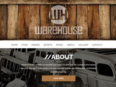 Warehouse Bar + Kitchen Website