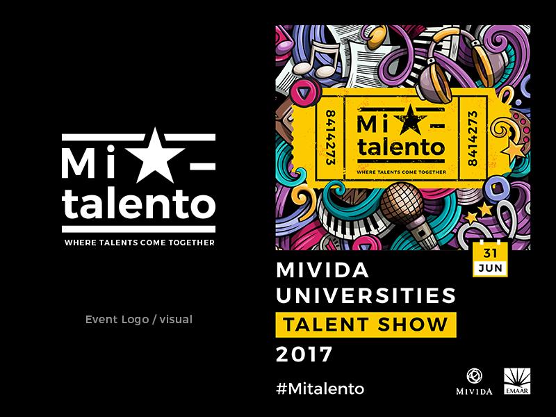 Mi Talento music flyer talent show event logo