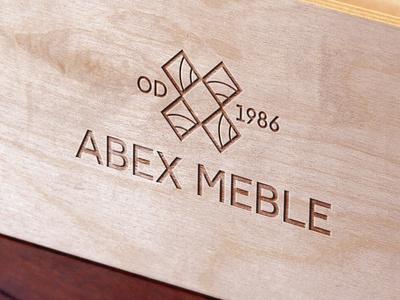 Abex Meble Logo brown wood burn wood typography branding and identity brand agency design brand 2kropek branding agency bizness studio logo branding