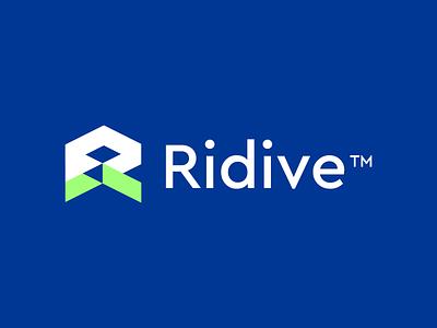 Ridive Logo brand identy r logo team.muhammadaslam@gmail.com ui vector logo illustration icon digital agency design creative app branding