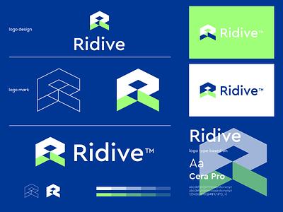 Ridive logo branding modern minimal 3d 2d abstract logo r letter vector ui logo illustration icon digital agency design creative branding app