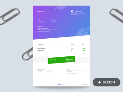 Invoice - Free Template download sketch mockup billing invoice template freebie