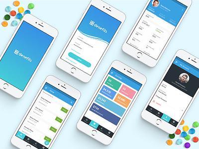 Denefits App splash product login profile rebrand financing medical ux ui denefits