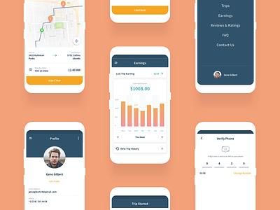 Driver App (Travel) ux ui login product menu chart earning map driver app