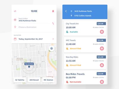 Rider App (Travel) address location map payment list app rider product drop pickup ride