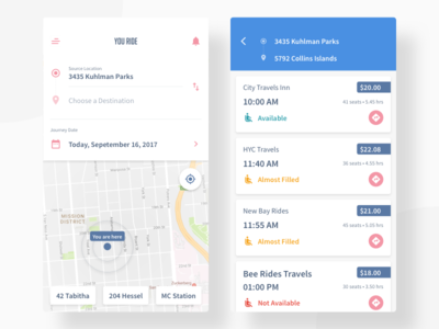 Rider App (Travel) address location map payment list app rider product drop pickup ride