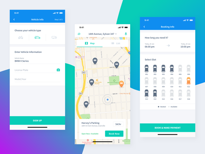 Parking App Concept iphonex product car vehicle map ux ui list view concept time booking parking
