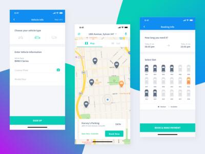 Parking App Concept iphonex product car vehicle map ux ui list view concept time booking parking