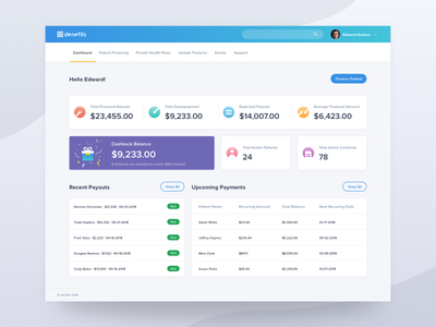 Dashboard - Denefits 2K18 product ux ui table cashback list admin panel payment invoice analytics dashboard