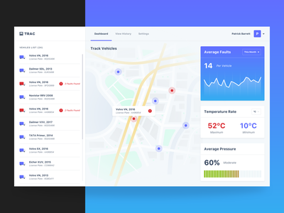 Tracking Dashboard temperature vehicle graph analytic track app transport logistics concept ux mockup product dashboard ui