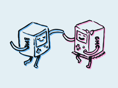 Adventure Time Illustration: BMO & GMO blue pink couple couple dancing dancing gmo bmo illustration inking ink vector drawing finn and jake adventure time