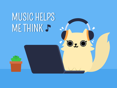 Music helps me think (Cat Illustration) cat illustration cat eyes cute eyes cute fluffy cat vector graphics vector illustration white cream quote music kitten pussy kitty cat