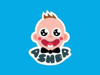 Sticker Illustration: Baby Asher baby illustration vector graphics sticker illustration sticker asher baby logo design vector drawing illustration