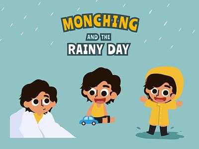 Character Design: Monching happy drawing vector illustration rainy day rainy rain yellow kid children child monching character design character childrens storybook storybook story