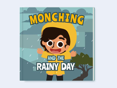 Children's Storybook Cover: Monching and the Rainy Day monching childrens book rainy day rainy rain product design storybook story cover book cover book illustration vector design drawing