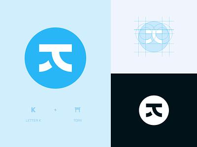 Logo Design: K japanese torii torii simple logo brand identity brand graphic design letter letter k k japanese logo japanese blue branding logo