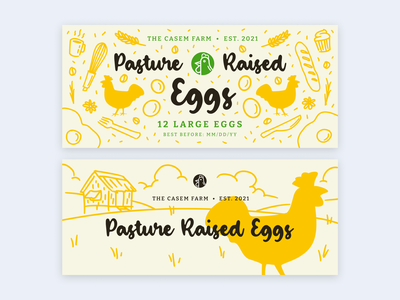 Mood board Design #1: Pasture Raised Eggs kubo rice bread coffee bean coffee wheat breakfast chicken farm yellow drawing doodle eggs packaging egg tray branding illustration print product design