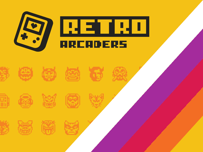 Retro Arcaders Logo (Rebound Shot) arcaders arcade logo game logo gameboy logo gameboy magenta yellow 90s colorful vintage arcade video game retro pixel design typography logo