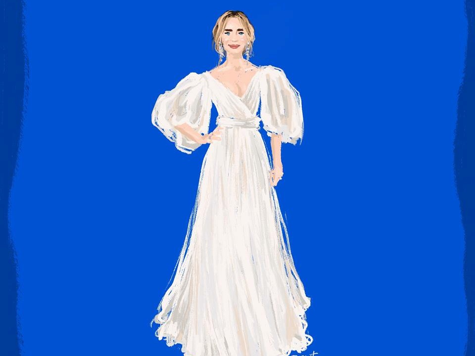 Illustration of Emily Blunt (Mary Poppins premiere) portrait illustration art illustration fashion illustration fashion