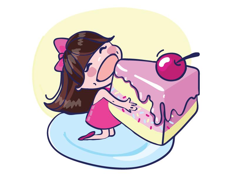 I Like Cakes glutton girl hunger cake viber stickers sticker pack messenger illustration glamour russia