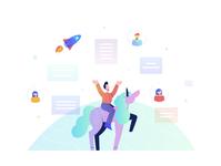 startup design startup unicorn flat man vector character illustration fireart studio fireart